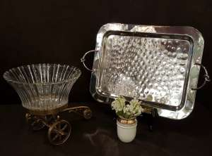 Silver Tray, Diffuser & Detailed Brass Accessory