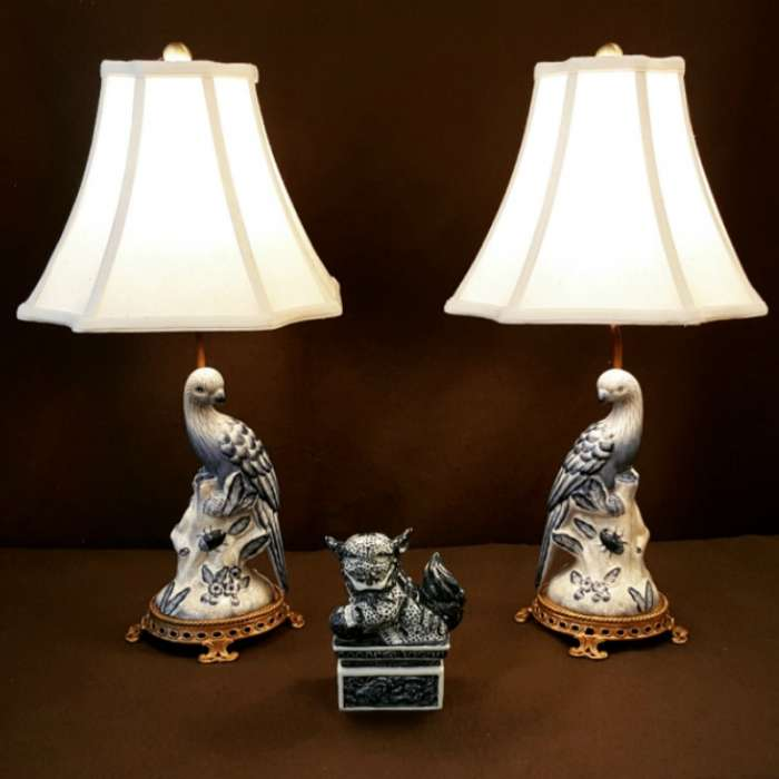 Blue and White Porcelain Parrots